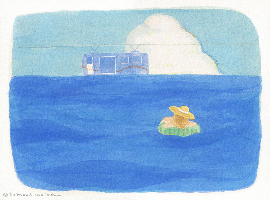 新作イラスト「サマー・ステーション」 海と青空のイラスト